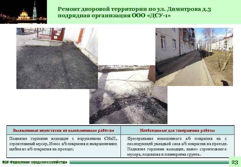 Ремонт дворовой территории по ул. Димитрова д. 3 подрядная организация ООО «ДСУ-1» Выявленные недостатки