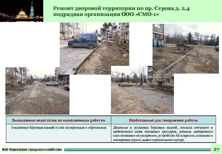 Ремонт дворовой территории по пр. Серова д. 2, 4 подрядная организация ООО «СМО-1» Выявленные