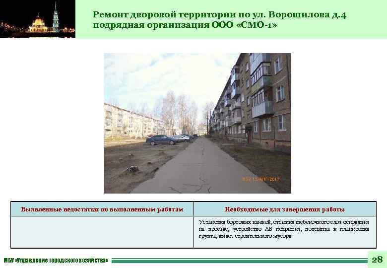 Ремонт дворовой территории по ул. Ворошилова д. 4 подрядная организация ООО «СМО-1» Выявленные недостатки