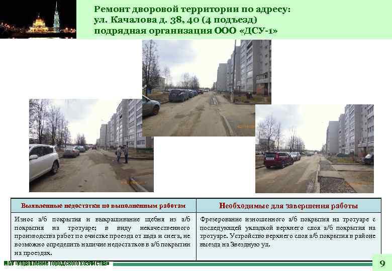 Ремонт дворовой территории по адресу: ул. Качалова д. 38, 40 (4 подъезд) подрядная организация