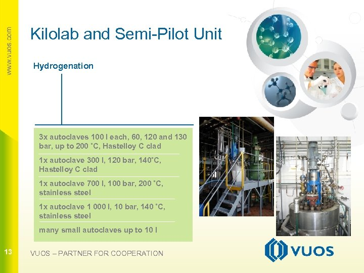 Kilolab and Semi-Pilot Unit Hydrogenation 3 x autoclaves 100 l each, 60, 120 and