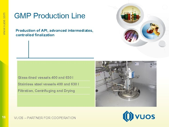 GMP Production Line Production of API, advanced intermediates, controlled finalization 16 Glass-lined vessels 400