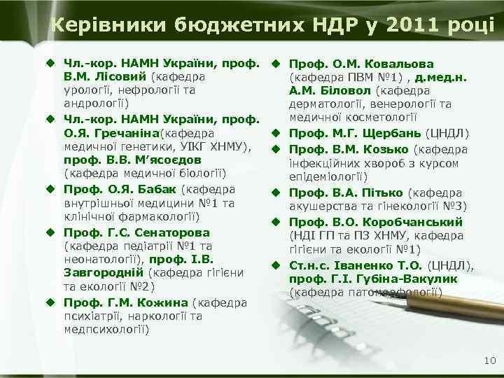 Керівники бюджетних НДР у 2011 році u Чл. -кор. НАМН України, проф. В. М.