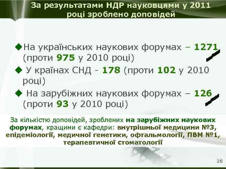 За результатами НДР науковцями у 2011 році зроблено доповідей u. На українських наукових форумах