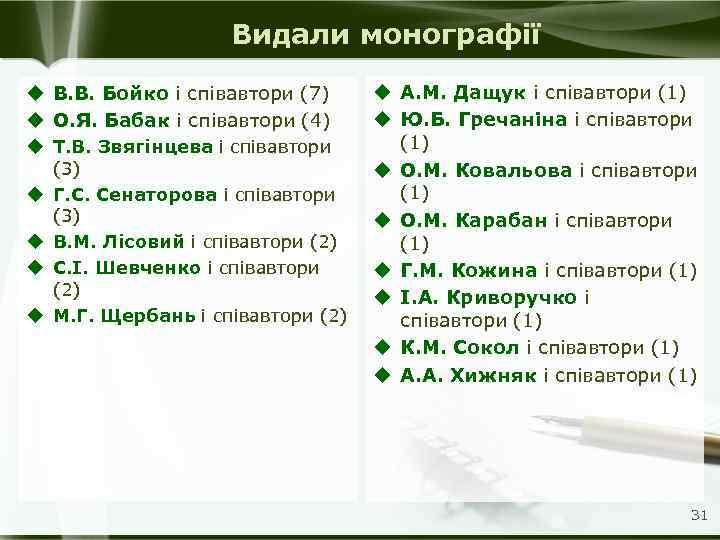 Видали монографії u В. В. Бойко і співавтори (7) u О. Я. Бабак і