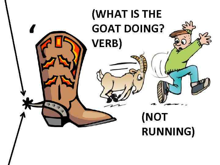 ' (WHAT IS THE GOAT DOING? VERB) (NOT RUNNING)