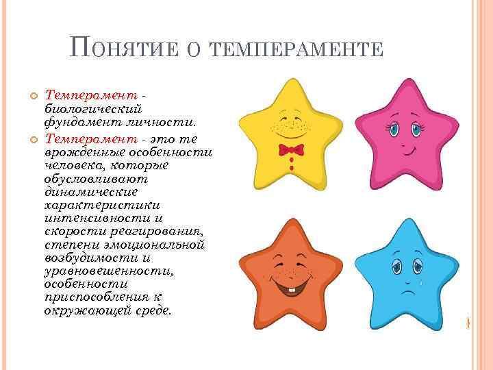 ПОНЯТИЕ О ТЕМПЕРАМЕНТЕ Темперамент биологический фундамент личности. Темперамент - это те врожденные особенности человека,