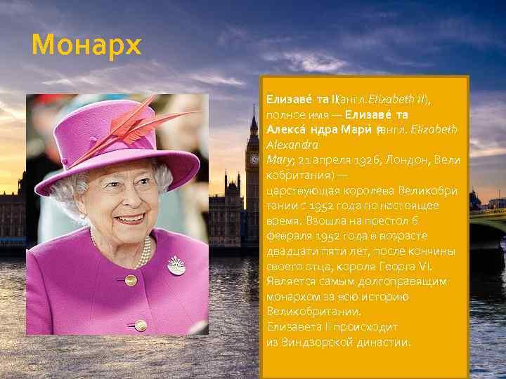 Монарх Елизаве та II (англ. Elizabeth II), полное имя — Елизаве та Алекса ндра