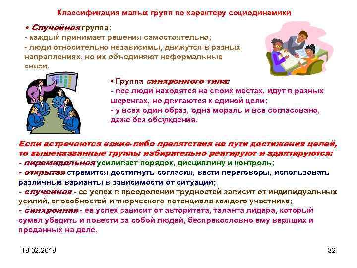 Классификация малых групп по характеру социодинамики • Случайная группа: - каждый принимает решения самостоятельно;