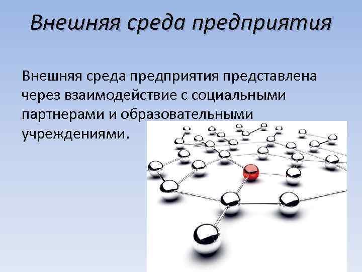 Внешняя среда предприятия представлена через взаимодействие с социальными партнерами и образовательными учреждениями.