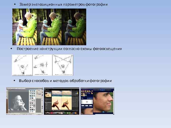 • Замер экспозиционных параметров фотографии • Построение конструкции согласно схемы фотоосвещения • Выбор