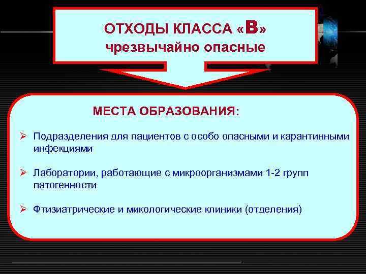 ОТХОДЫ КЛАССА «В» чрезвычайно опасные МЕСТА ОБРАЗОВАНИЯ: Ø Подразделения для пациентов с особо опасными