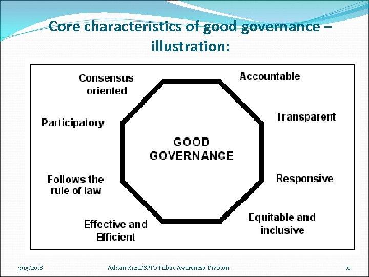 Core characteristics of good governance – illustration: 3/15/2018 Adrian Kiiza/SPIO Public Awareness Division. 10