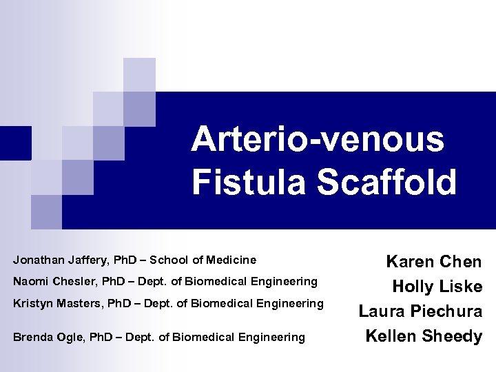 Arterio-venous Fistula Scaffold Jonathan Jaffery, Ph. D – School of Medicine Naomi Chesler, Ph.