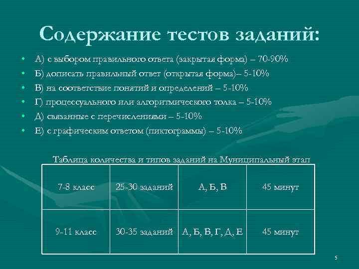 Содержание тестов заданий: • • • А) с выбором правильного ответа (закрытая форма) –