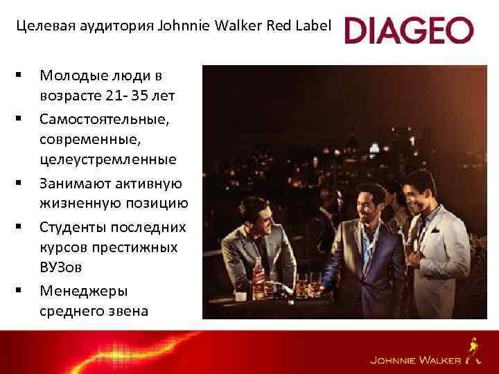 Целевая аудитория Johnnie Walker Red Label § § § Молодые люди в возрасте 21