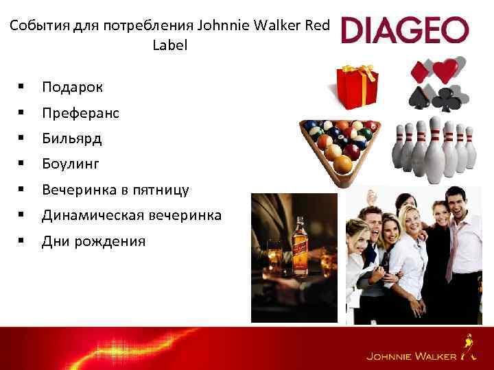 События для потребления Johnnie Walker Red Label § Подарок § Преферанс § Бильярд §
