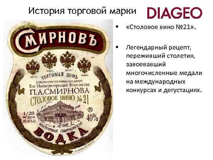 История торговой марки § «Столовое вино № 21» . § Легендарный рецепт, переживший столетия,