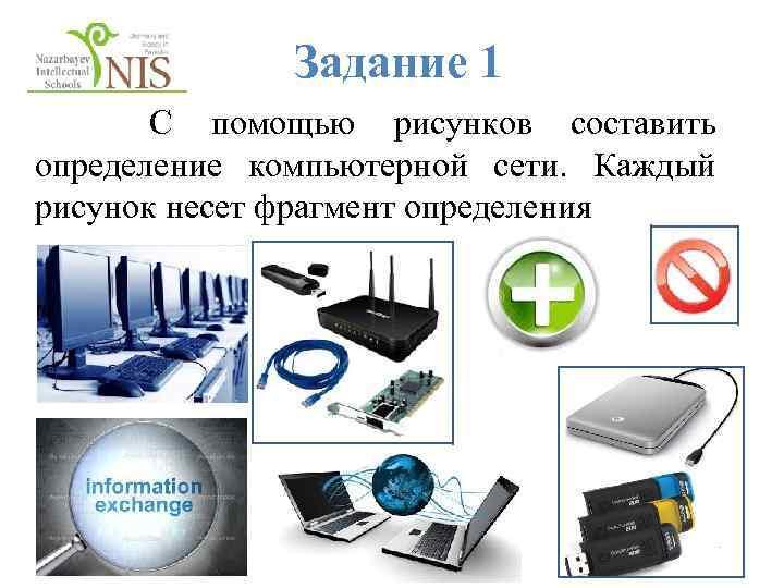 Задание 1 С помощью рисунков составить определение компьютерной сети. Каждый рисунок несет фрагмент определения