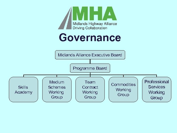 Governance Midlands Alliance Executive Board Programme Board Skills Academy L Medium Schemes Working Group