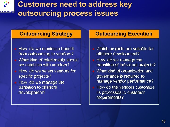 Customers need to address key outsourcing process issues Outsourcing Strategy l l How do