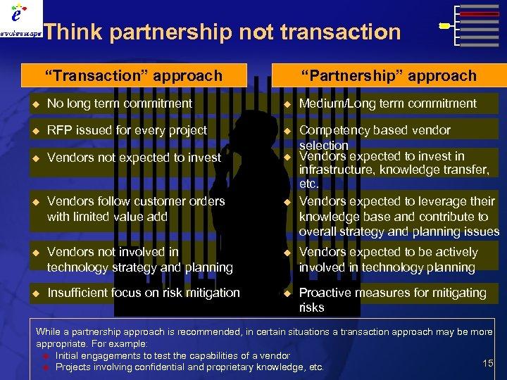 "Think partnership not transaction ""Transaction"" approach ""Partnership"" approach u No long term commitment u"