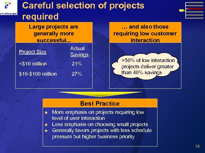 Careful selection of projects required Large projects are generally more successful. . . …