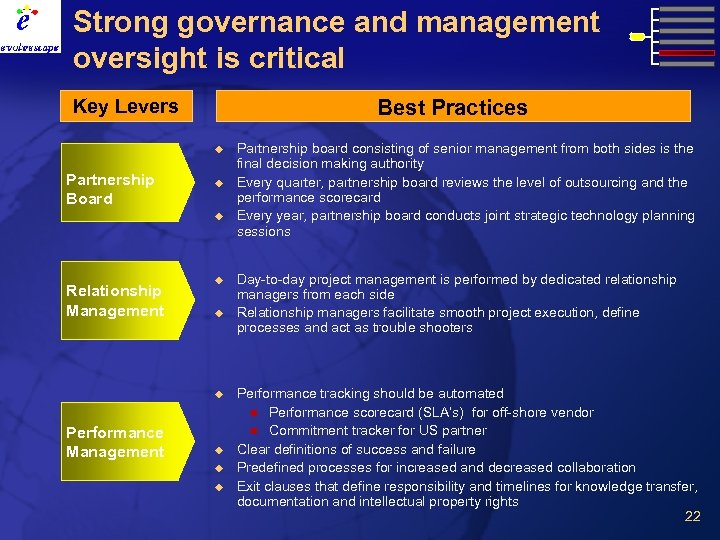 Strong governance and management oversight is critical Key Levers Best Practices u Partnership Board