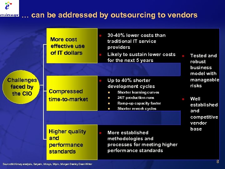 … can be addressed by outsourcing to vendors More cost effective use of IT