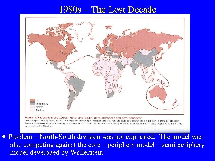 1980 s – The Lost Decade · Problem – North-South division was not explained.