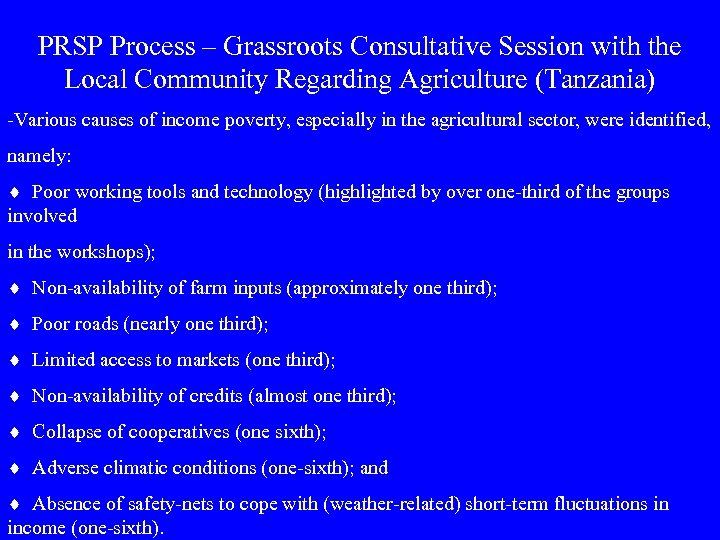 PRSP Process – Grassroots Consultative Session with the Local Community Regarding Agriculture (Tanzania) -Various