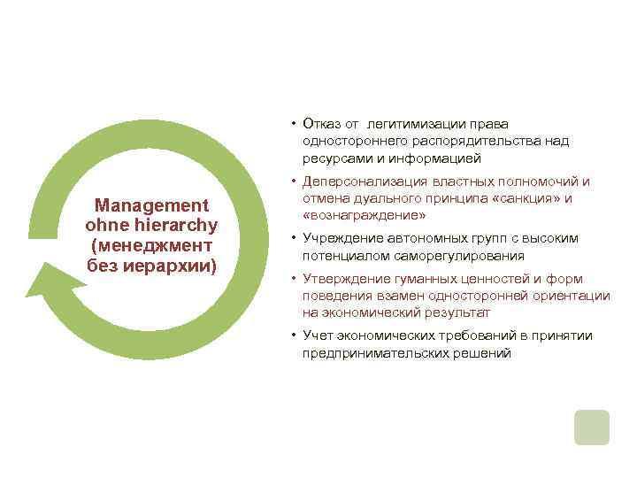 • Отказ от легитимизации права одностороннего распорядительства над ресурсами и информацией Management ohne