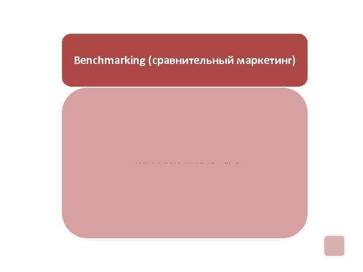 Benchmarking (сравнительный маркетинг) непрерывное совершенствование деятельности предприятия, повышение его конкурентоспособности на основании ориентации и