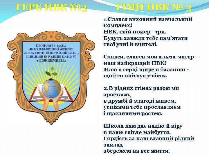 ГЕРБ НВК № 3 ГІМН НВК № 3 1. Слався виховний навчальний комплекс! НВК,
