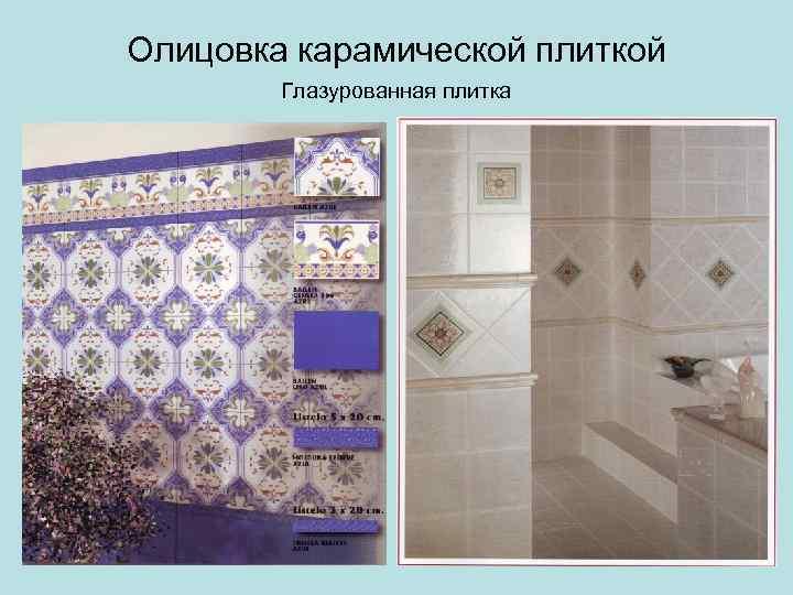 Олицовка карамической плиткой Глазурованная плитка