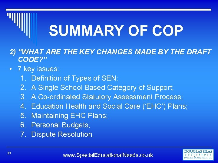"""SUMMARY OF COP 2) """"WHAT ARE THE KEY CHANGES MADE BY THE DRAFT CODE?"""