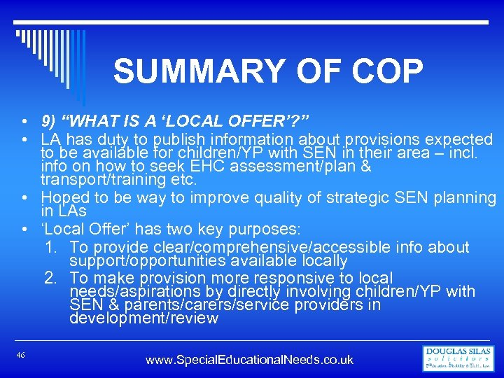"""SUMMARY OF COP • 9) """"WHAT IS A 'LOCAL OFFER'? """" • LA has"""