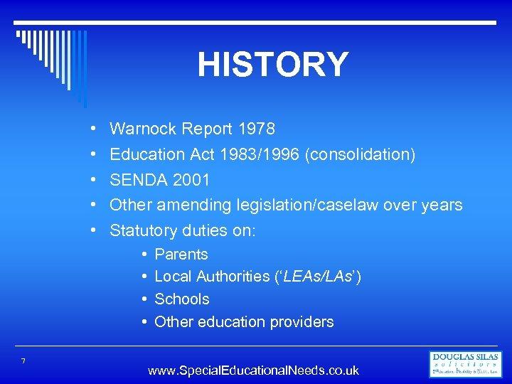 HISTORY • • • Warnock Report 1978 Education Act 1983/1996 (consolidation) SENDA 2001 Other