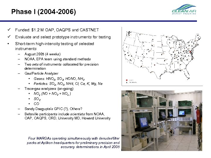 Phase I (2004 -2006) ü Funded: $1. 2 M OAP, OAQPS and CASTNET ü
