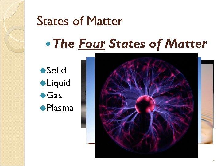 States of Matter The Four States of Matter u. Solid u. Liquid u. Gas