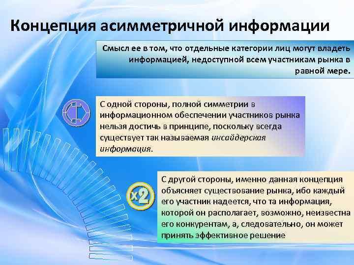 Концепция асимметричной информации Смысл ее в том, что отдельные категории лиц могут владеть информацией,
