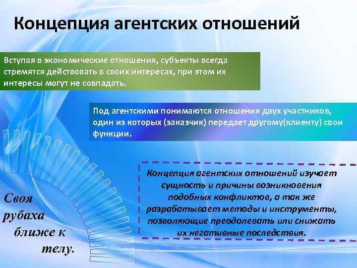Концепция агентских отношений Вступая в экономические отношения, субъекты всегда стремятся действовать в своих интересах,