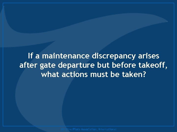 If a maintenance discrepancy arises after gate departure but before takeoff, what actions must