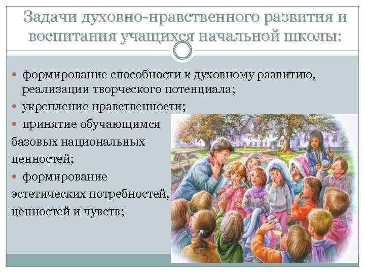 Задачи духовно-нравственного развития и воспитания учащихся начальной школы: формирование способности к духовному развитию, реализации
