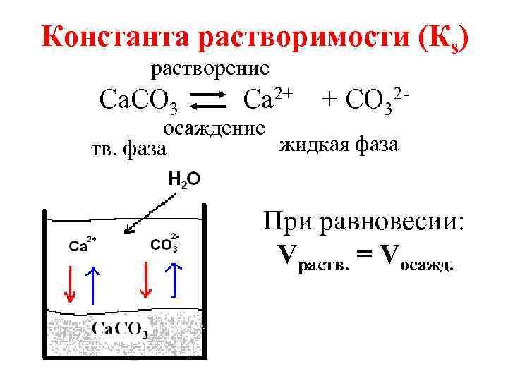 Константа растворимости (Кs) растворение Са. СО 3 Са 2+ + СО 32 - осаждение