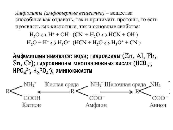Амфолитами являются: вода; гидроксиды (Zn, Al, Pb, Sn, Cr); гидроанионы многоосновных кислот (НСО 3