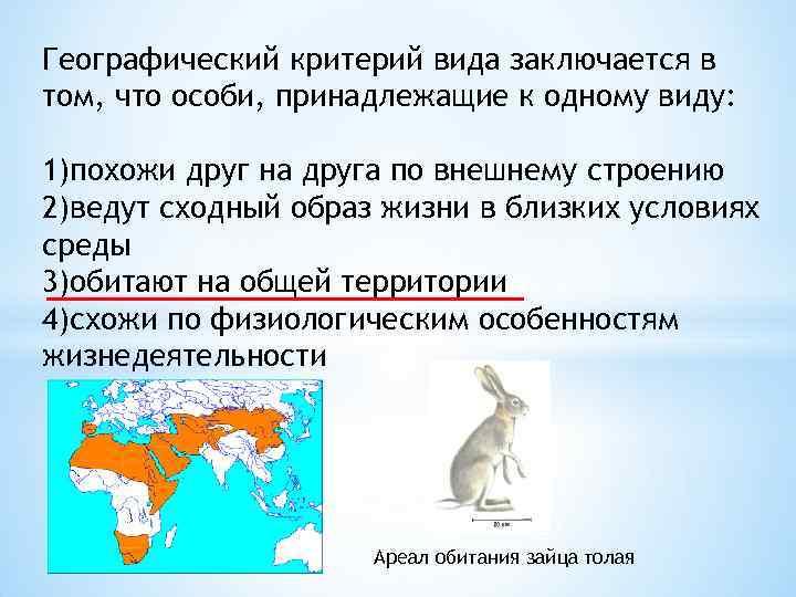 Географический критерий вида заключается в том, что особи, принадлежащие к одному виду: 1)похожи друг