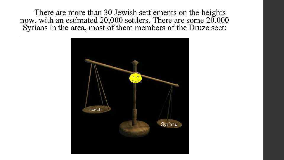 There are more than 30 Jewish settlements on the heights now, with an estimated