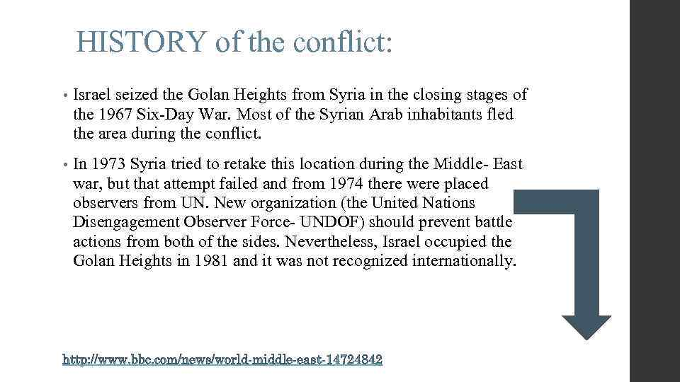 HISTORY of the conflict: • Israel seized the Golan Heights from Syria in the
