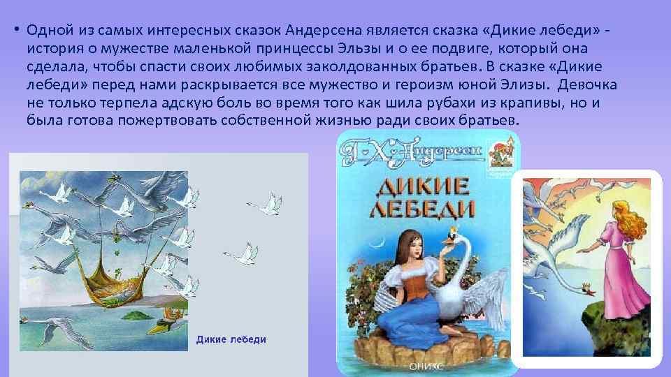 • Одной из самых интересных сказок Андерсена является сказка «Дикие лебеди» история о
